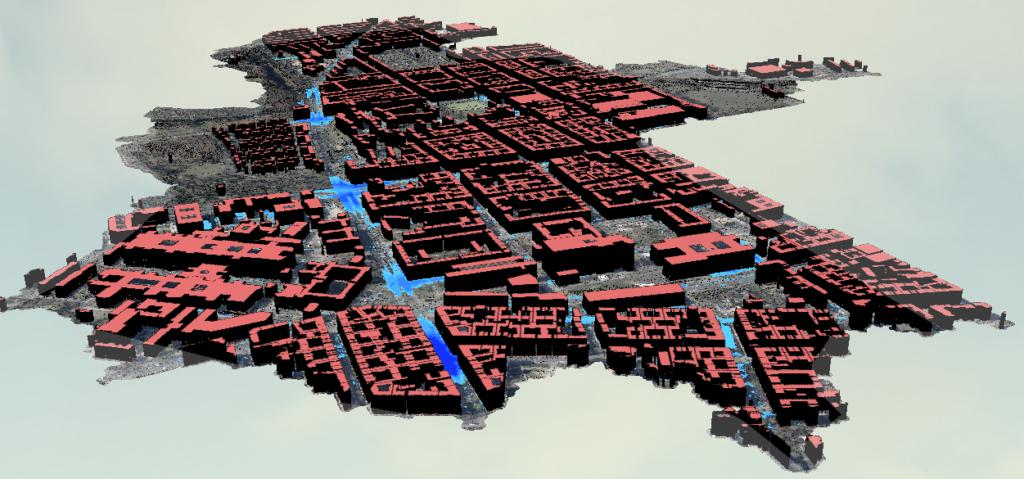 2,5D Darstellung von Überflutungen im Stadtgebiet